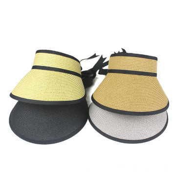 Portable summer straw hat women visor cap