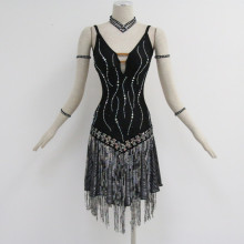 ODM for Latin Dress Black costumes for dance competition export to Poland Importers