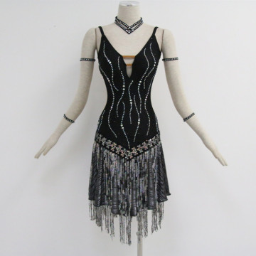 Hot New Products for Girls Latin Dress Black costumes for dance competition supply to Kenya Importers