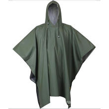 Heavy Duty Waterproof PU Rain Poncho For Men