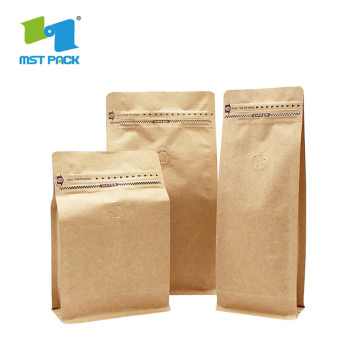 Paper Coffee Bag With Valve 250g Flat bottom pouch