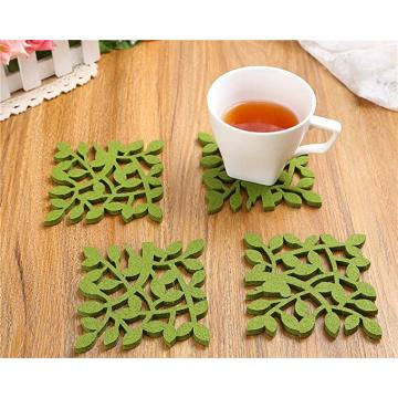 Green drink Coaster with leaf pattern