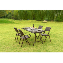 Plastic Bi-folding Table 183cm Length Rattan Brown