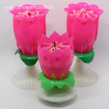 Unique Artificial Open Singing Rose Flower Candle