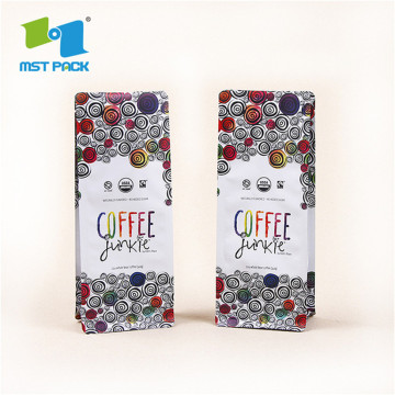 Comopostable Biodegradable Zipper  Flat Bottom Kraft Paper  Coffee Beans Packaging Block Bottom Coffee Bag