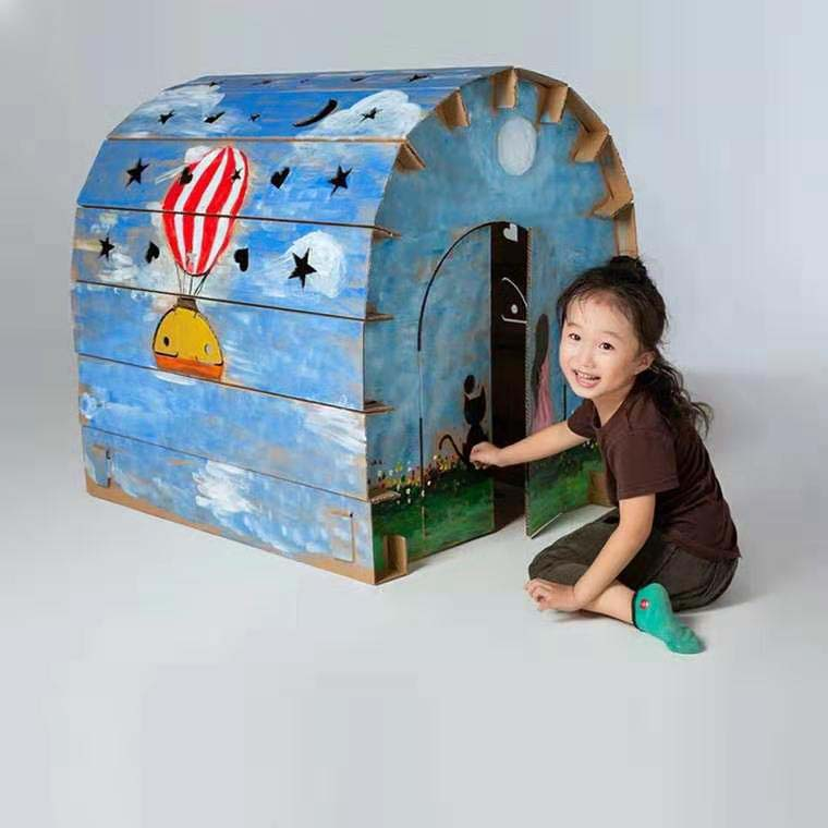 SUPER BIG SIZE CHILDREN'S GRAFFITI CARDBOARD HOUSE