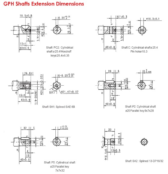 GPH Shafts Extension Dimensions