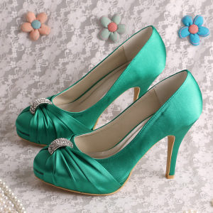 PriceList for for Silver Glitter Prom Shoes Green Wedding Pumps for Bride supply to Japan Wholesale
