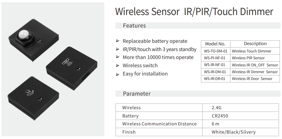 wireless IR-PIR-TOUCH sensors