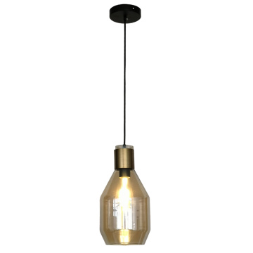 Single pendant lamp with transparent glass