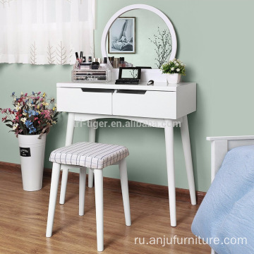Furniture wooden drawers dressing table with mirror