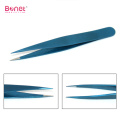 Pointed and slanted tip stainless steel eyebrow tweezers