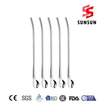 18/8 Trendy Stainless Steel Straw Spoon Wholesale