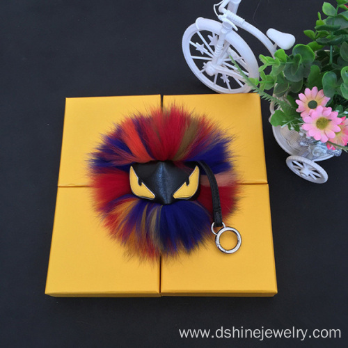 Emoji Fox Furry Ball Keychain Dyed Colors Fur Ball Keyring