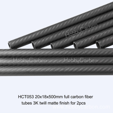 20x18x500mm Fiber Tube ya kaboni kwa Toy za RC