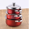 Three Piece Stainless Steel Multicolor Cookware Set