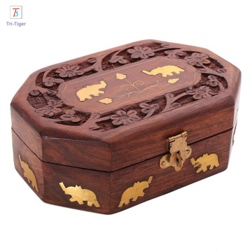 Novelty organizer box Artisan Traditional Hand Carved Rosewood Jewelry Box