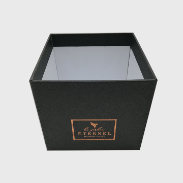Black Color Gold Stamping Rigid Cardboard Flower Box