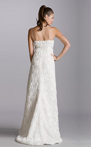 Empire A-line V-neck Chapel Train Organza Belt Wedding Dress
