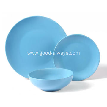 18 Pieces Stoneware Dinnerware Set,Sky Blue