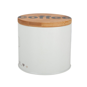 Round kitchen tin canister with bamboo