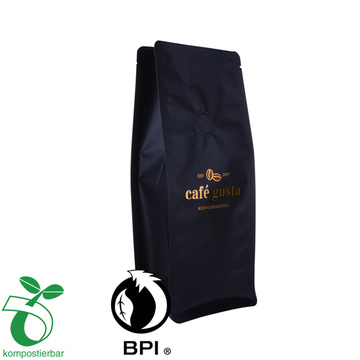 Side Gusset Biodegradable Flat Bottom Coffee Bag With One Way Valve Zip Lock