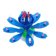 Chrysanthemum Birthday Flower Rotated Music Candle