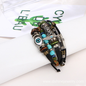 Turquoise Beads Leather Bracelet With Evil Eye Bead Bracelet