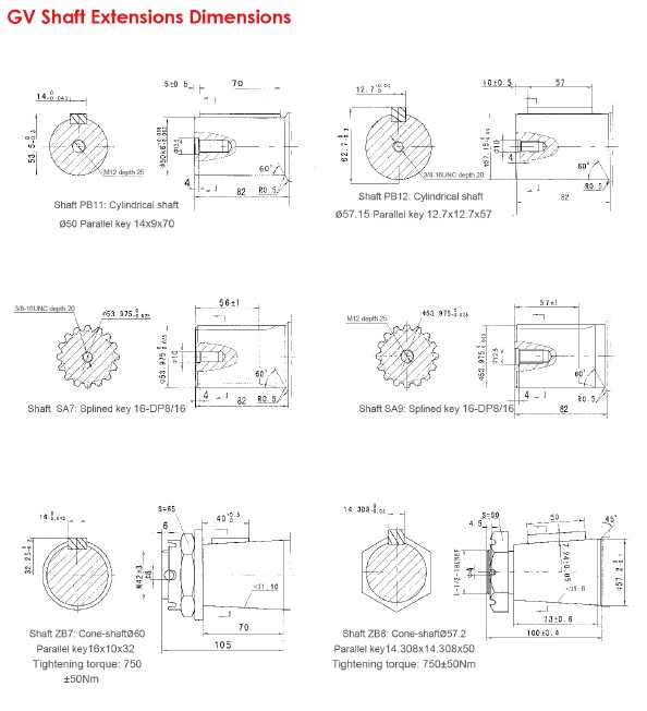 GV Shaft Extensions Dimensions