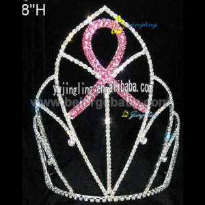 Large cheap beauty pink ribbon crown