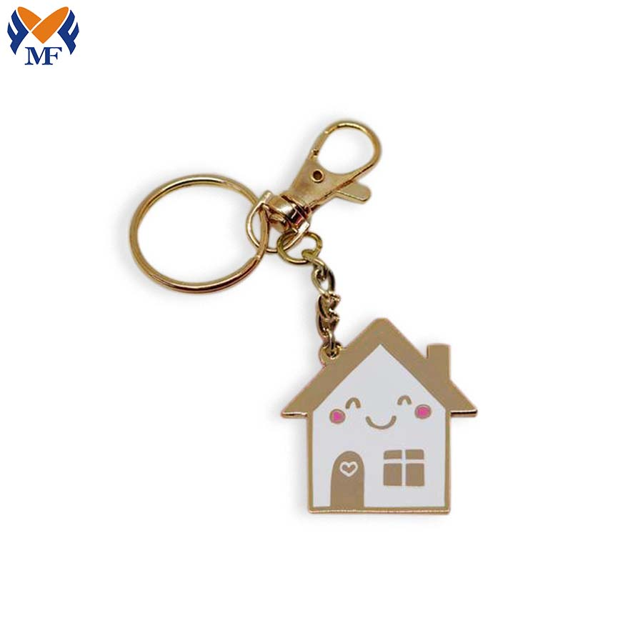 Happy House Enamel Keychain