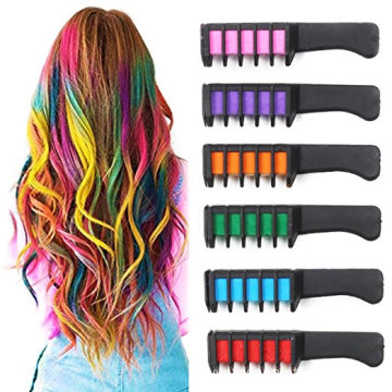 Non-allergenic washable hair chalk comb for girls