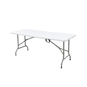 White Plastic 6FT Fold-In-Half Banquet Table