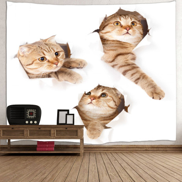 Three Cats Lovely Tapestry Animal Cute Wall Hanging 3D Print Tapestry for Livingroom Bedroom Home Dorm Decor
