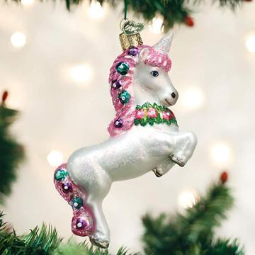 Pink Unicorn Shaped Personalised Glass Christmas Ornaments