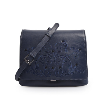 Handmade Embossed Flowers Leather Crossbody Metal Lock Bag