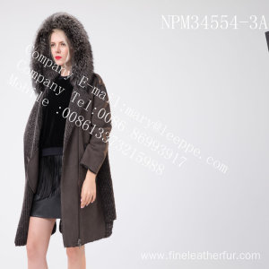 Women Winter Medium Hooded Fur Overcoat