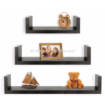 Factory Set of 3 Floating U Shelves, Espresso Finish