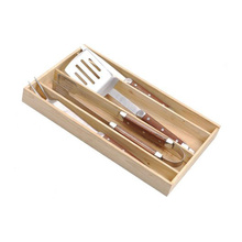 4pcs luxury bbq tools set in wooden box