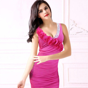 Foreign trade lace to make a diamond in the cheongsam of the long style banquet etiquette miss dress 9818 pink
