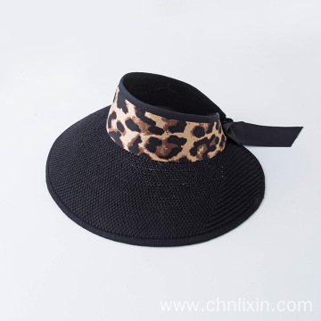 Leopard print bucket straw hat sun protection visor