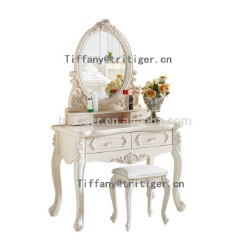 Bedroom furniture white wooden dresser table with mirror