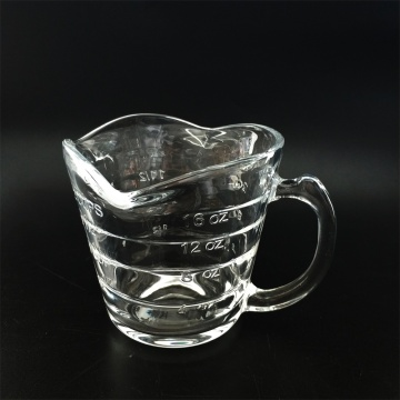 Glass milk measuring cup with handle