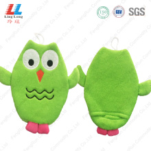 Owl shape high quality kids bath gloves