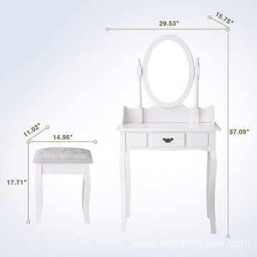 Vanity Table Makeup Table Set Dressing Table with Stool and Oval Mirror White Makeup Dresser with Mirror