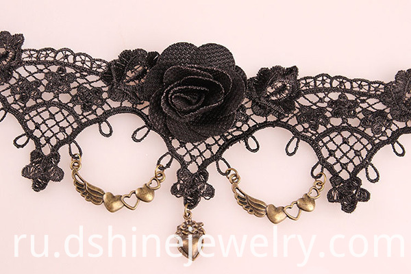 Black Rose Lace Girls Anklet