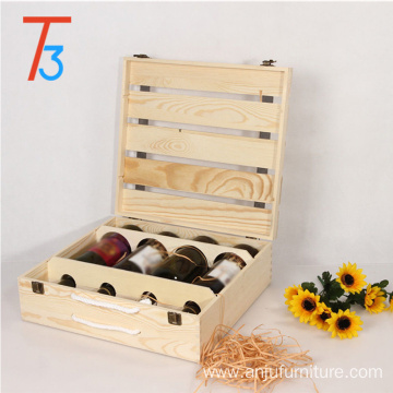 Professional for Solid Wine Box rustic wooden wine crate storage gift box supply to Christmas Island Wholesale