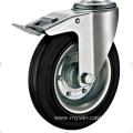 125 mm   hole top European industrial rubber swivel casters with brakes