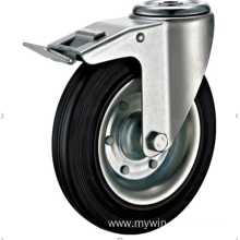 160mm hole top European industrial rubber swivel casters with brakes