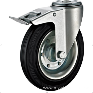 100  mm  hole top European  industrial rubber  swivel  caster with brakes